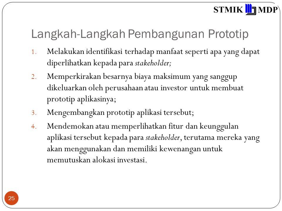 Langkah-Langkah Pembangunan Prototip 25 1. Melakukan identifikasi terhadap manfaat seperti apa yang dapat diperlihatkan kepada para stakeholder; 2. Me