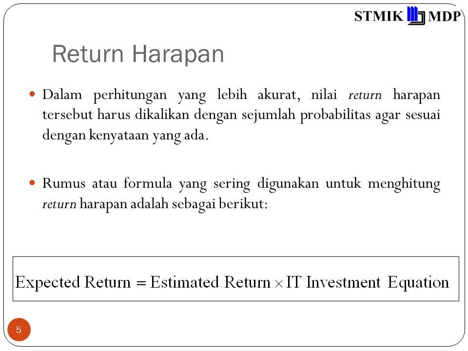 Return Harapan 6 Dimana nilai sebenarnya dari manfaat yang akan diperoleh perusahaan merupakan hasil perkalian antara besarnya nilai yang diharapkan dengan sebuah nilai probabilitas tertentu, yang pada dasarnya merupakan persamaan dari investasi teknologi informasi.
