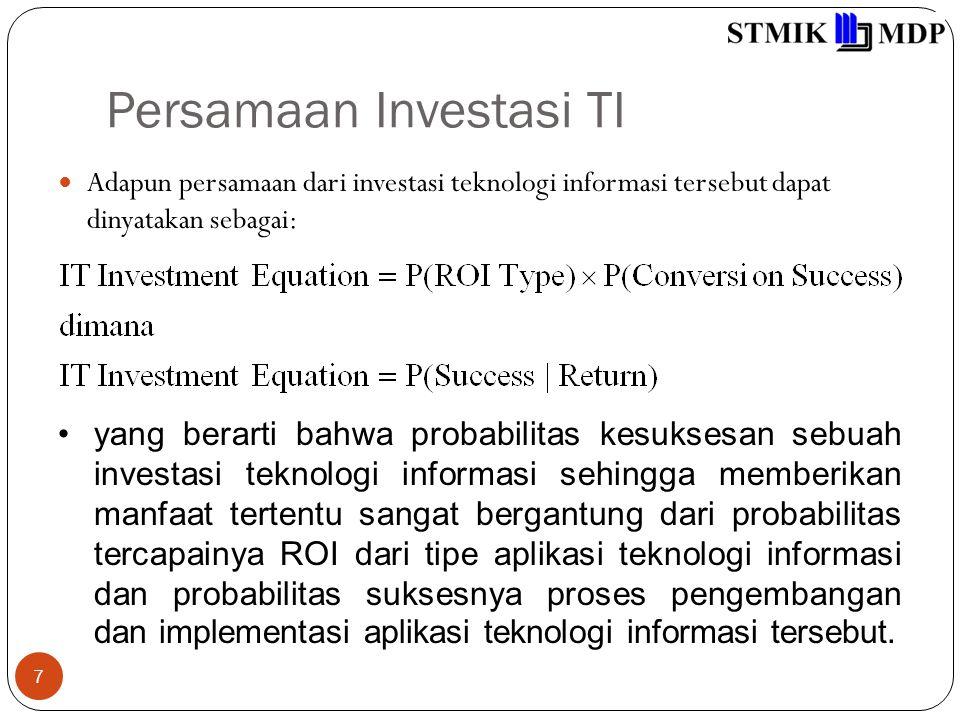 Persamaan Investasi TI 7 Adapun persamaan dari investasi teknologi informasi tersebut dapat dinyatakan sebagai: yang berarti bahwa probabilitas kesuks