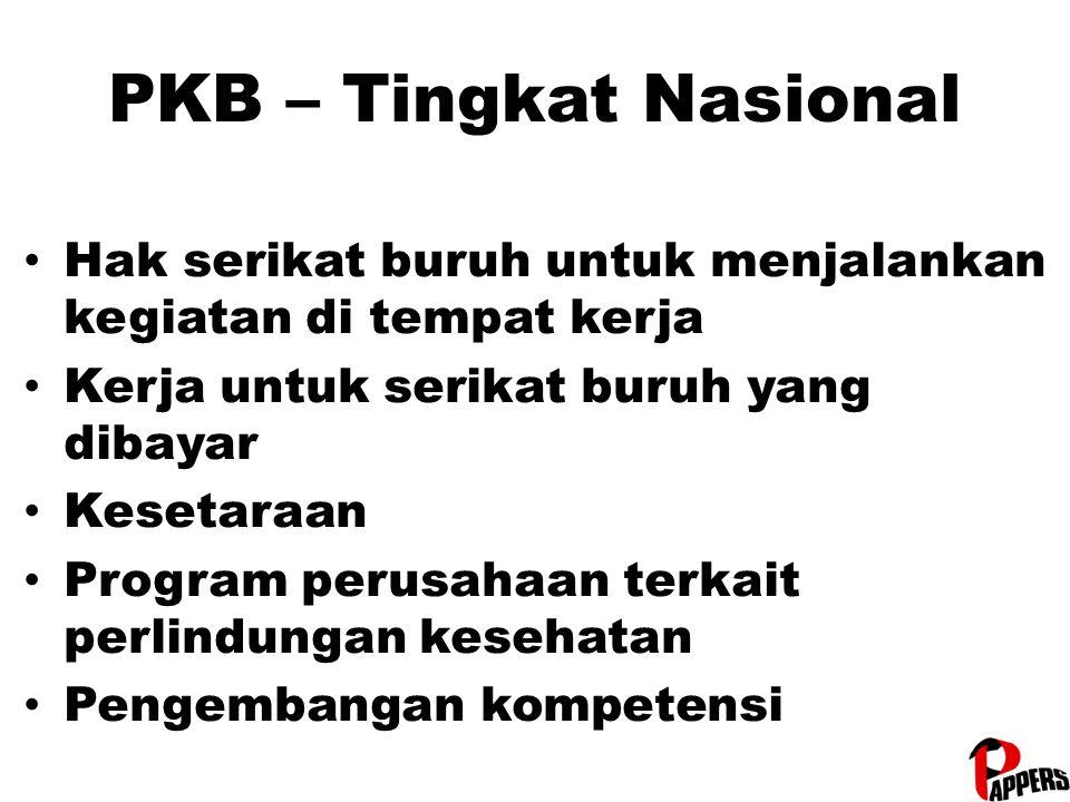 PKB – Tingkat Nasional Hak serikat buruh untuk menjalankan kegiatan di tempat kerja Kerja untuk serikat buruh yang dibayar Kesetaraan Program perusaha