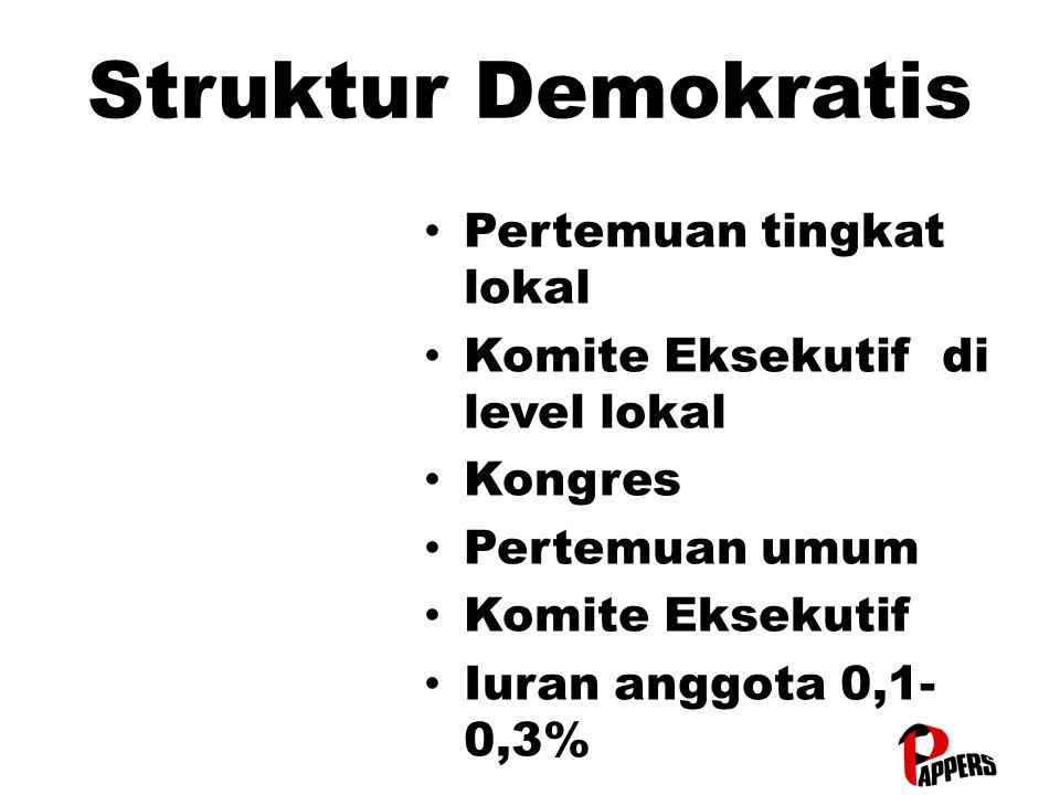 Struktur Demokratis Pertemuan tingkat lokal Pertemuan tingkat lokal Komite Eksekutif di level lokal Komite Eksekutif di level lokal Kongres Kongres Pe