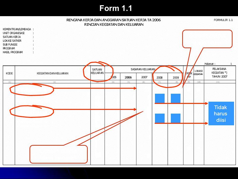 10 2 6 10 56 34 2 3 Form 1.1 Kegiatan A Indikator Keluaran A1 Indikator Keluaran A2 Indikator Keluaran A3 Kegiatan B Indikator Keluaran B1 Indikator Keluaran B2 Indikator Keluaran B3 10 59 53 Contoh output yang tetap Contoh output yang berubah Tidak harus diisi
