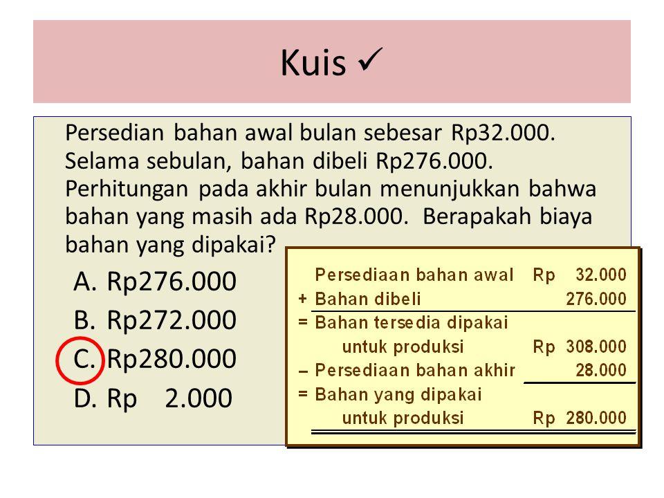 Kuis Persedian bahan awal bulan sebesar Rp32.000.Selama sebulan, bahan dibeli Rp276.000.