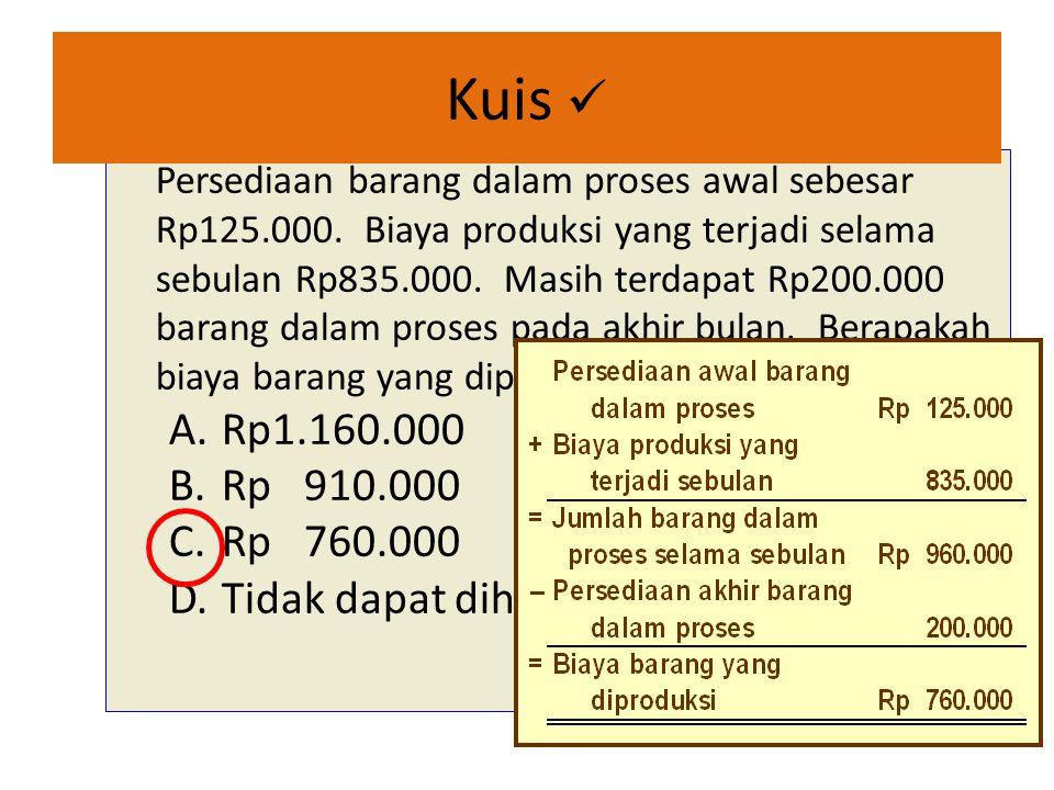 Kuis Persediaan barang dalam proses awal sebesar Rp125.000.
