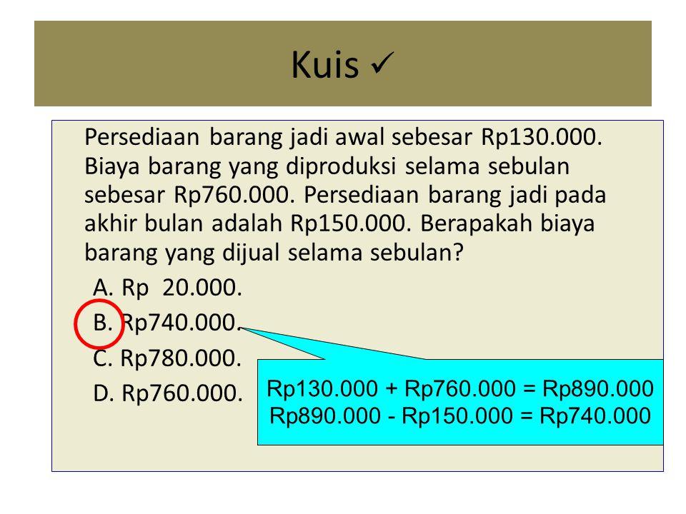 Kuis Persediaan barang jadi awal sebesar Rp130.000.