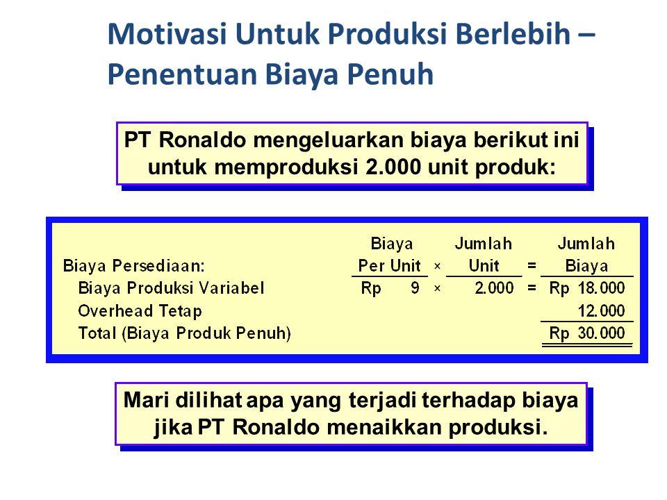 Mari membandingkan penentuan biaya penuh dan variabel.