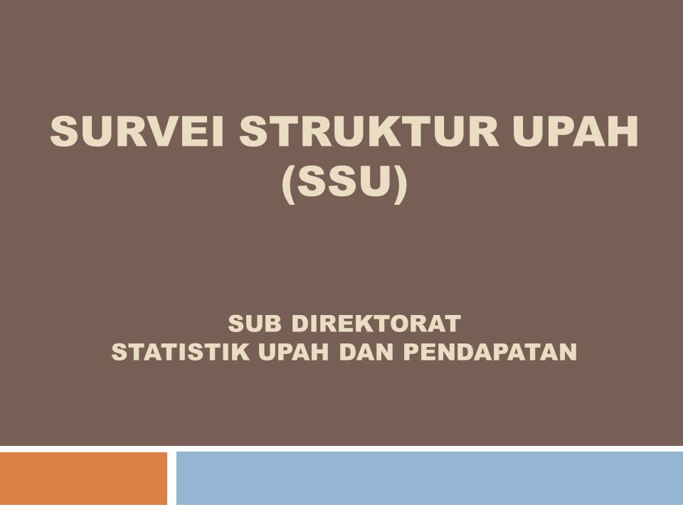 Tujuan SSU  Mendapatkan data statistik upah yang lebih rinci, yaitu upah menurut jenis kelamin dan jenis jabatan/ pekerjaan untuk : - karyawan non produksi/pelaksana - karyawan produksi/pelaksana berstatus lebih rendah dari pengawas/mandor/supervisor.