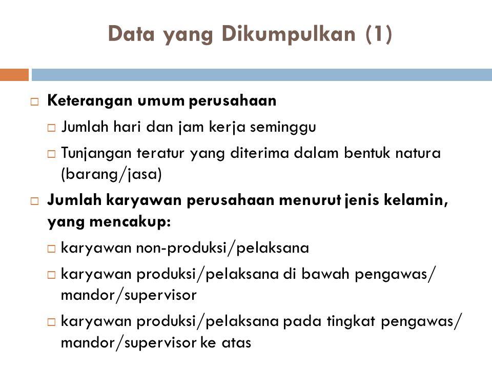 Data yang Dikumpulkan (1)  Keterangan umum perusahaan  Jumlah hari dan jam kerja seminggu  Tunjangan teratur yang diterima dalam bentuk natura (bar