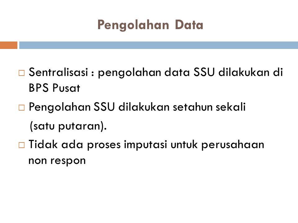 Pengolahan Data  Sentralisasi : pengolahan data SSU dilakukan di BPS Pusat  Pengolahan SSU dilakukan setahun sekali (satu putaran).  Tidak ada pros