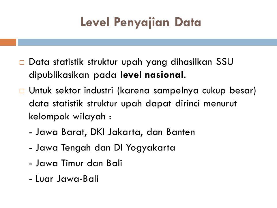 Level Penyajian Data  Data statistik struktur upah yang dihasilkan SSU dipublikasikan pada level nasional.  Untuk sektor industri (karena sampelnya