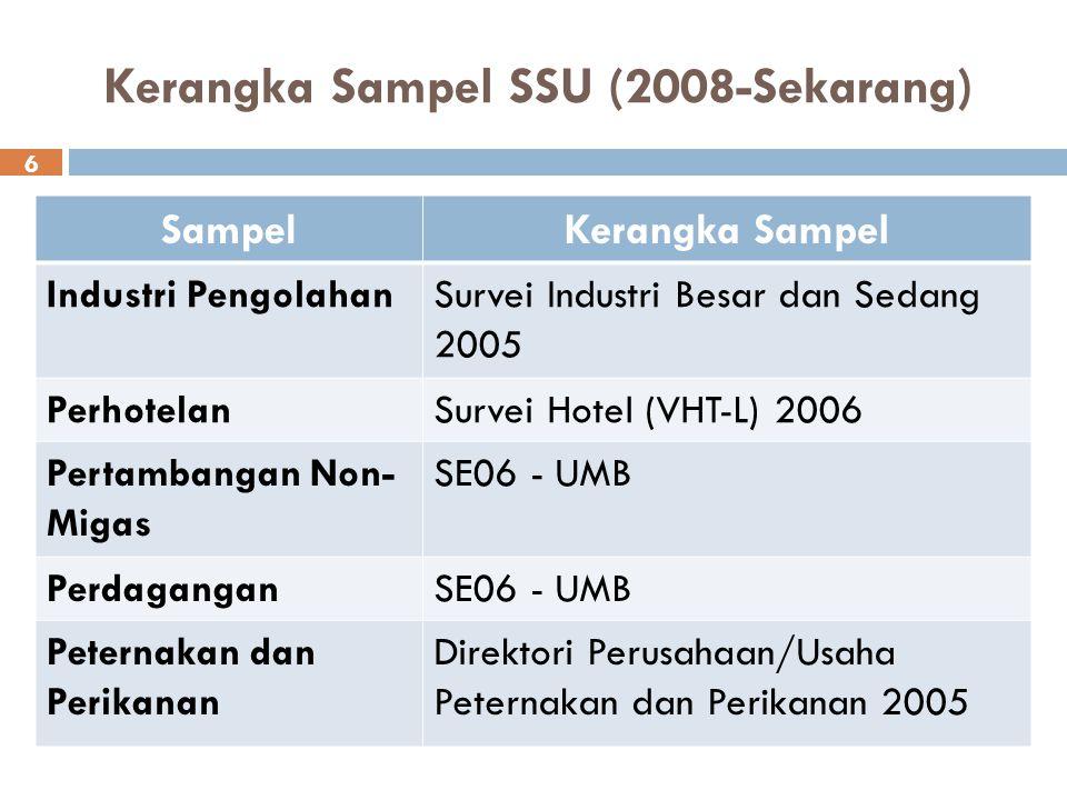 Kerangka Sampel SSU (2008-Sekarang) SampelKerangka Sampel Industri PengolahanSurvei Industri Besar dan Sedang 2005 PerhotelanSurvei Hotel (VHT-L) 2006