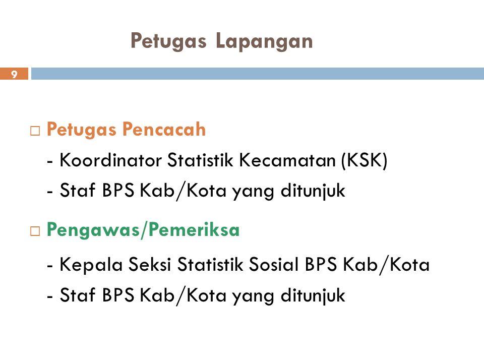 Petugas Lapangan  Petugas Pencacah - Koordinator Statistik Kecamatan (KSK) - Staf BPS Kab/Kota yang ditunjuk  Pengawas/Pemeriksa - Kepala Seksi Stat