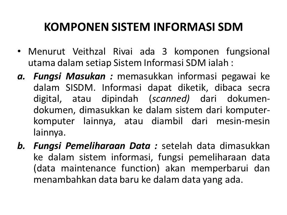 KOMPONEN SISTEM INFORMASI SDM Menurut Veithzal Rivai ada 3 komponen fungsional utama dalam setiap Sistem Informasi SDM ialah : a.Fungsi Masukan : mema