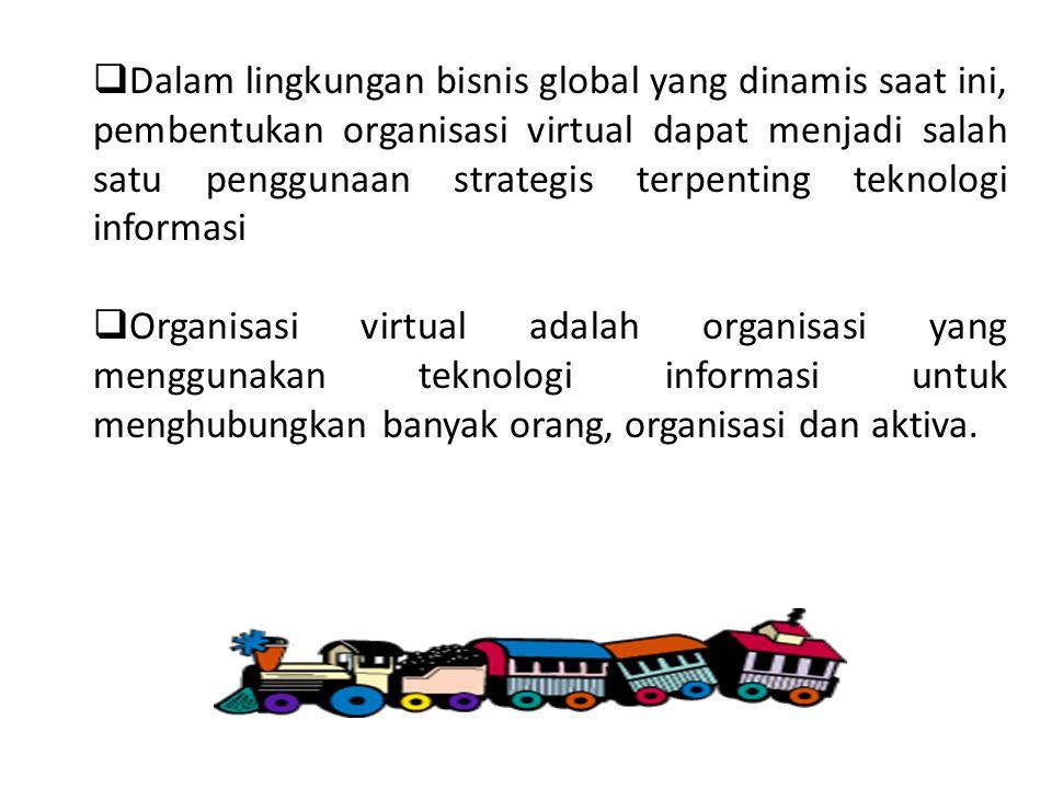  Dalam lingkungan bisnis global yang dinamis saat ini, pembentukan organisasi virtual dapat menjadi salah satu penggunaan strategis terpenting teknol