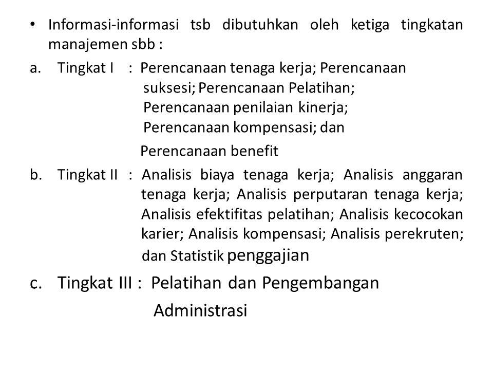 Informasi-informasi tsb dibutuhkan oleh ketiga tingkatan manajemen sbb : a.Tingkat I: Perencanaan tenaga kerja; Perencanaan suksesi; Perencanaan Pelat