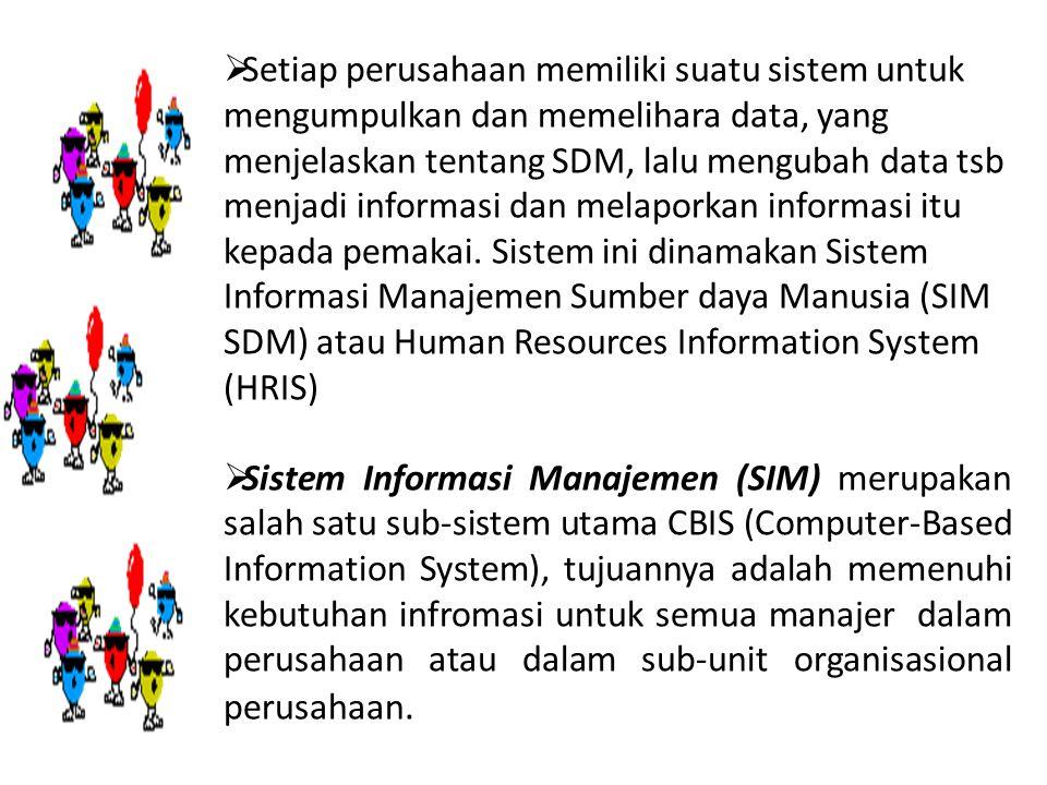 Setiap perusahaan memiliki suatu sistem untuk mengumpulkan dan memelihara data, yang menjelaskan tentang SDM, lalu mengubah data tsb menjadi informa