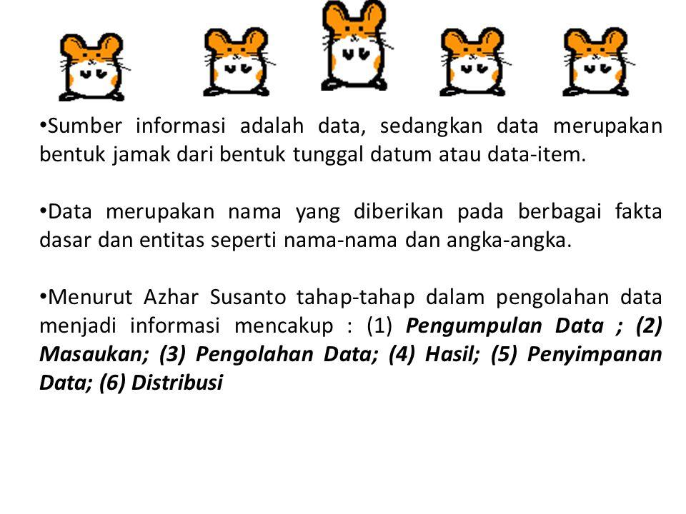 Sumber informasi adalah data, sedangkan data merupakan bentuk jamak dari bentuk tunggal datum atau data-item. Data merupakan nama yang diberikan pada