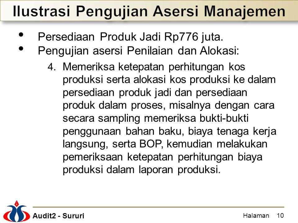 Audit2 - Sururi Persediaan Produk Jadi Rp776 juta. Pengujian asersi Penilaian dan Alokasi: 4. Memeriksa ketepatan perhitungan kos produksi serta aloka