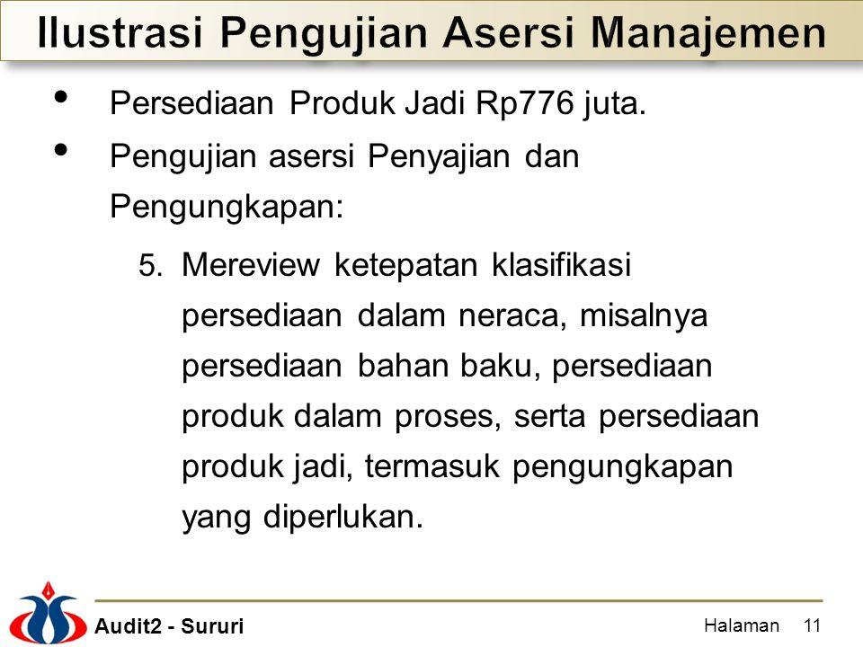 Audit2 - Sururi Persediaan Produk Jadi Rp776 juta. Pengujian asersi Penyajian dan Pengungkapan: 5. Mereview ketepatan klasifikasi persediaan dalam ner