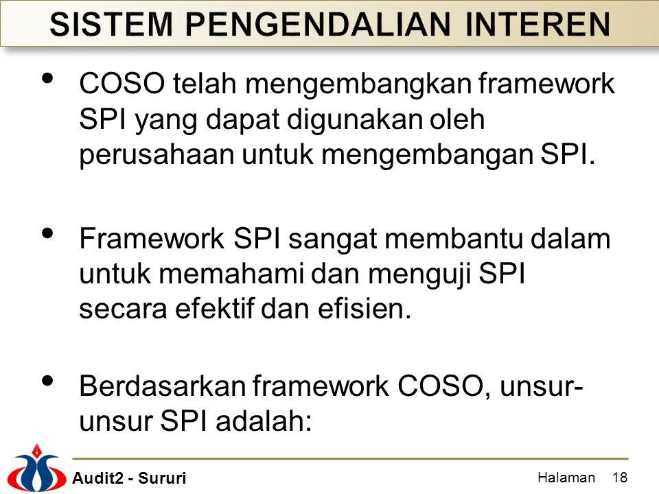 Audit2 - Sururi COSO telah mengembangkan framework SPI yang dapat digunakan oleh perusahaan untuk mengembangan SPI. Framework SPI sangat membantu dala