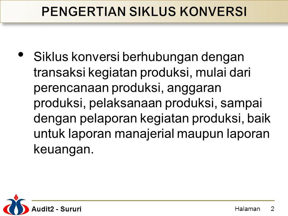 Audit2 - Sururi Siklus konversi berhubungan dengan transaksi kegiatan produksi, mulai dari perencanaan produksi, anggaran produksi, pelaksanaan produk