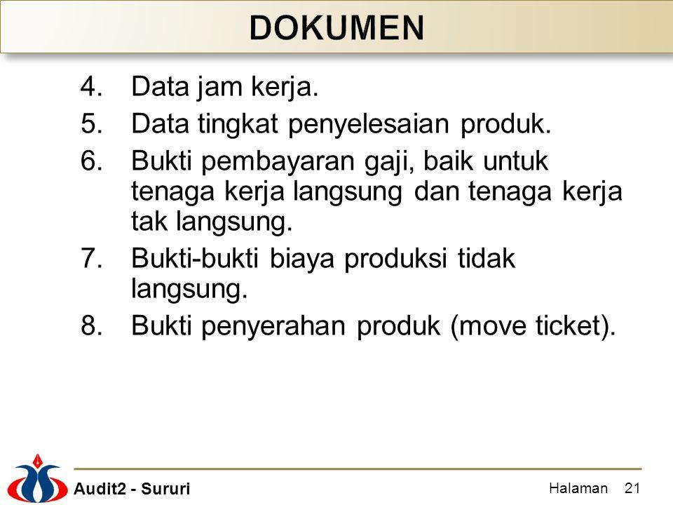 Audit2 - Sururi 4.Data jam kerja. 5.Data tingkat penyelesaian produk. 6.Bukti pembayaran gaji, baik untuk tenaga kerja langsung dan tenaga kerja tak l