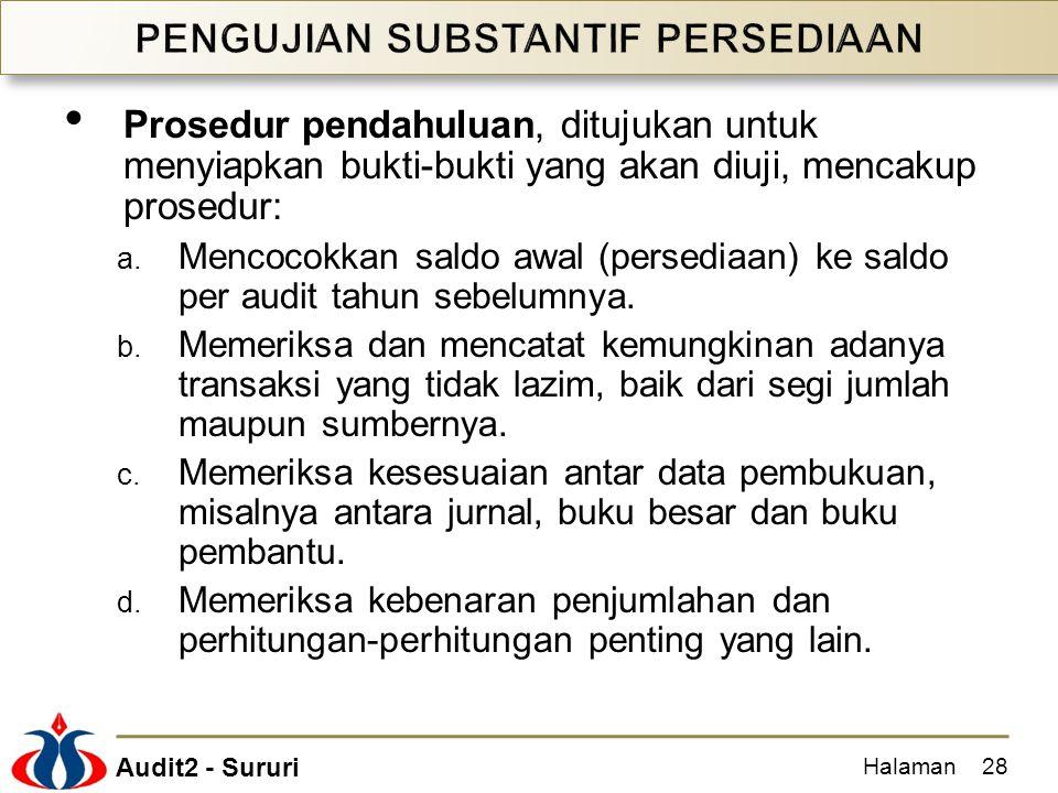 Audit2 - Sururi Prosedur pendahuluan, ditujukan untuk menyiapkan bukti-bukti yang akan diuji, mencakup prosedur: a. Mencocokkan saldo awal (persediaan