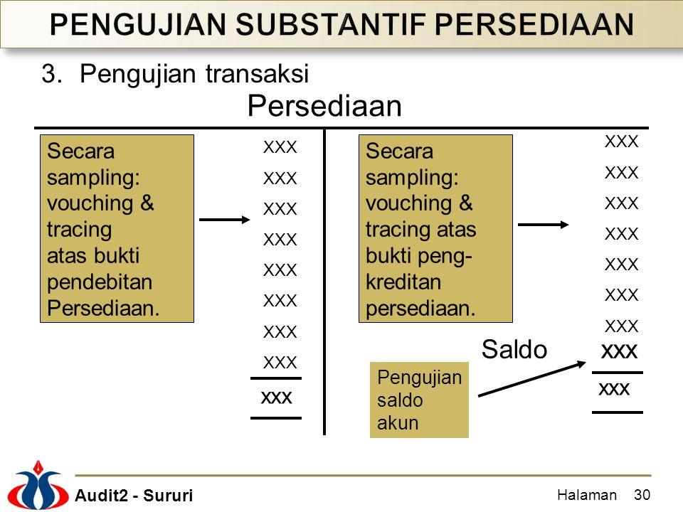 Audit2 - Sururi 3.Pengujian transaksi Halaman30 XXX Saldo xxx xxx Persediaan Secara sampling: vouching & tracing atas bukti pendebitan Persediaan. Sec