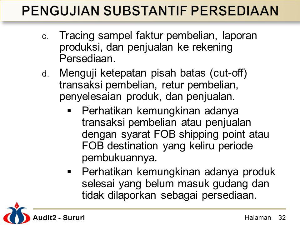 Audit2 - Sururi c. Tracing sampel faktur pembelian, laporan produksi, dan penjualan ke rekening Persediaan. d. Menguji ketepatan pisah batas (cut-off)