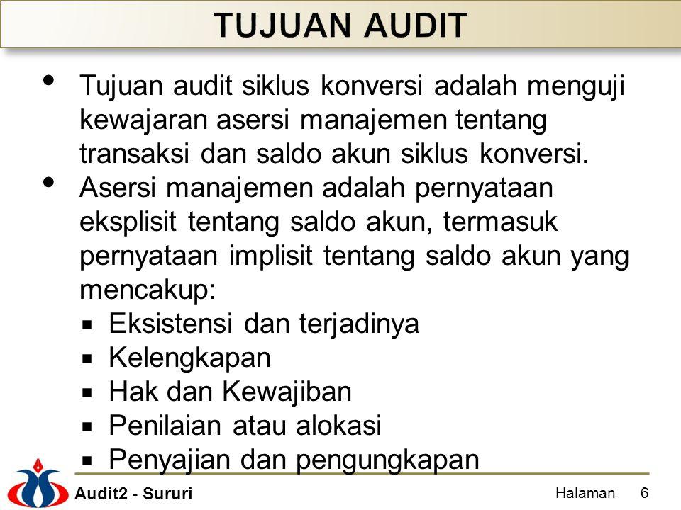 Audit2 - Sururi Tujuan audit siklus konversi adalah menguji kewajaran asersi manajemen tentang transaksi dan saldo akun siklus konversi. Asersi manaje