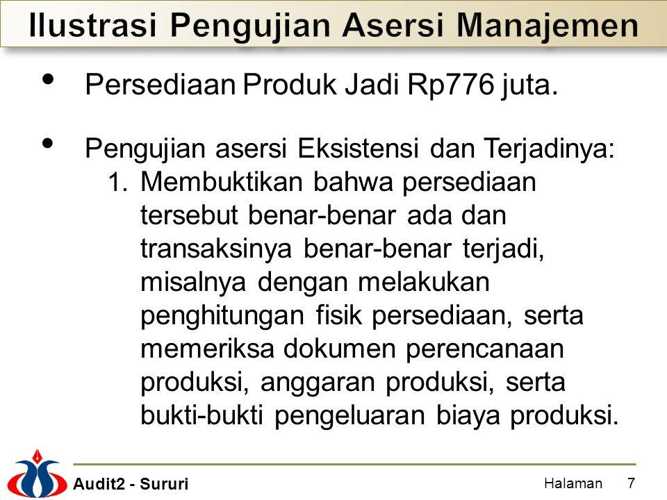 Audit2 - Sururi Persediaan Produk Jadi Rp776 juta. Pengujian asersi Eksistensi dan Terjadinya: 1. Membuktikan bahwa persediaan tersebut benar-benar ad