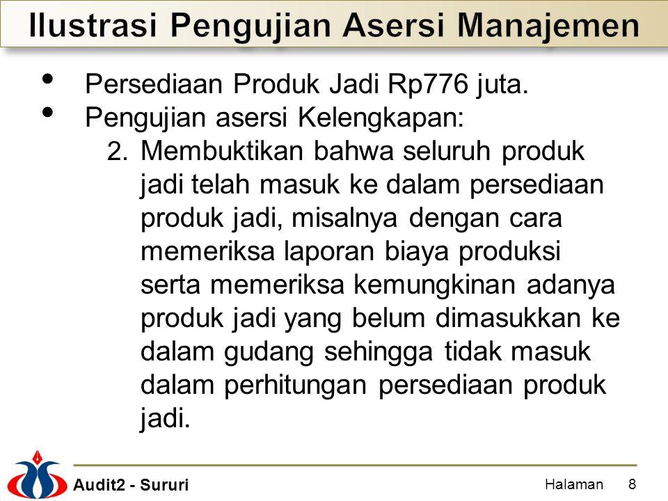 Audit2 - Sururi Persediaan Produk Jadi Rp776 juta. Pengujian asersi Kelengkapan: 2. Membuktikan bahwa seluruh produk jadi telah masuk ke dalam persedi