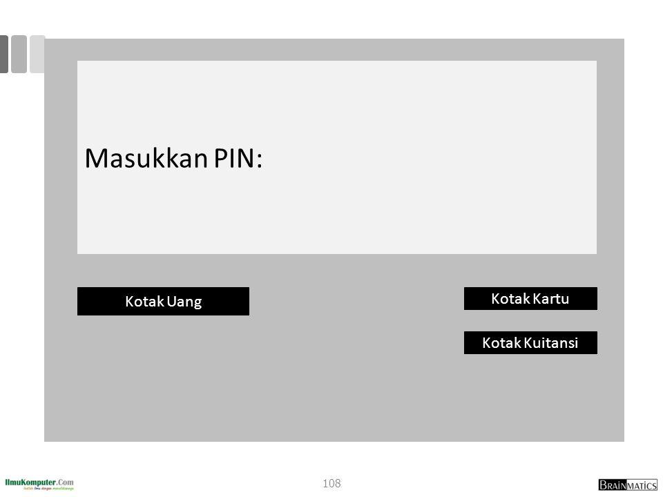 Masukkan PIN: Kotak Uang Kotak Kartu Kotak Kuitansi 108