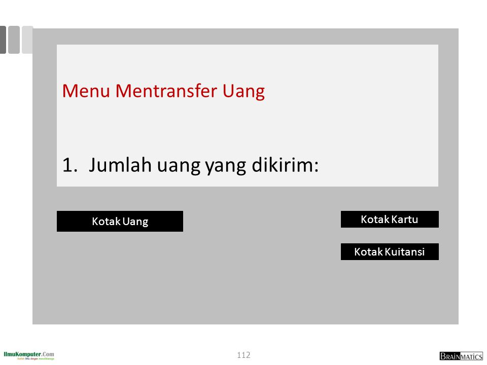 Menu Mentransfer Uang 1. 1.Jumlah uang yang dikirim: Kotak Uang Kotak Kartu Kotak Kuitansi 112