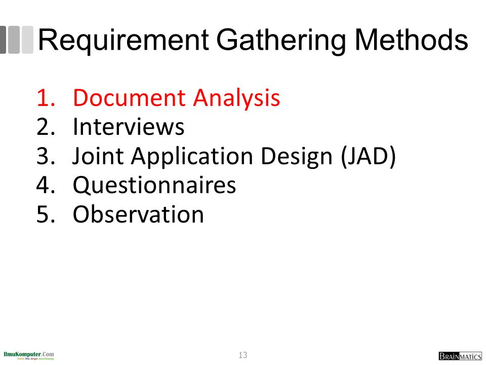 Requirement Gathering Methods 1.Document Analysis 2.Interviews 3.Joint Application Design (JAD) 4.Questionnaires 5.Observation 13