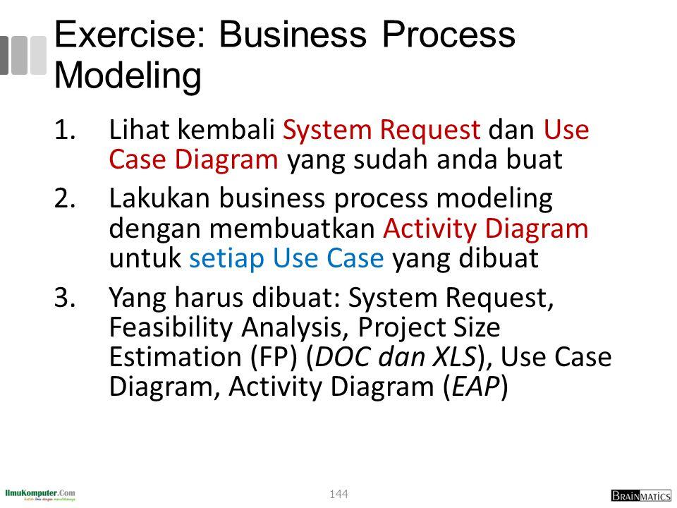 Exercise: Business Process Modeling 1.Lihat kembali System Request dan Use Case Diagram yang sudah anda buat 2.Lakukan business process modeling dengan membuatkan Activity Diagram untuk setiap Use Case yang dibuat 3.Yang harus dibuat: System Request, Feasibility Analysis, Project Size Estimation (FP) (DOC dan XLS), Use Case Diagram, Activity Diagram (EAP) 144