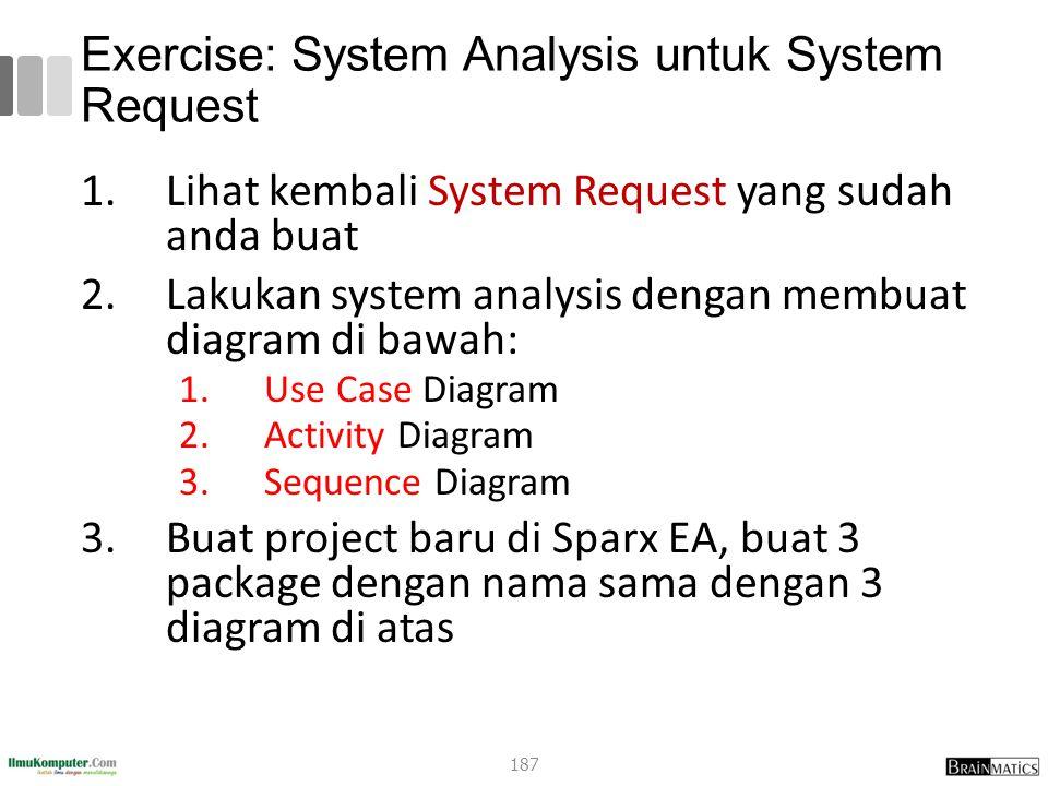 Exercise: System Analysis untuk System Request 1.Lihat kembali System Request yang sudah anda buat 2.Lakukan system analysis dengan membuat diagram di bawah: 1.Use Case Diagram 2.Activity Diagram 3.Sequence Diagram 3.Buat project baru di Sparx EA, buat 3 package dengan nama sama dengan 3 diagram di atas 187