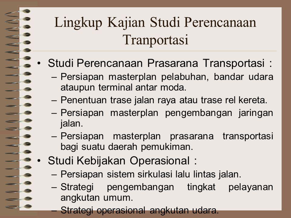 Lingkup Kajian Studi Perencanaan Tranportasi Studi Perencanaan Prasarana Transportasi : –Persiapan masterplan pelabuhan, bandar udara ataupun terminal
