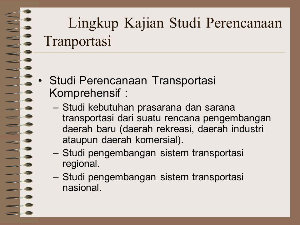 Lingkup Kajian Studi Perencanaan Tranportasi Studi Perencanaan Transportasi Komprehensif : –Studi kebutuhan prasarana dan sarana transportasi dari sua