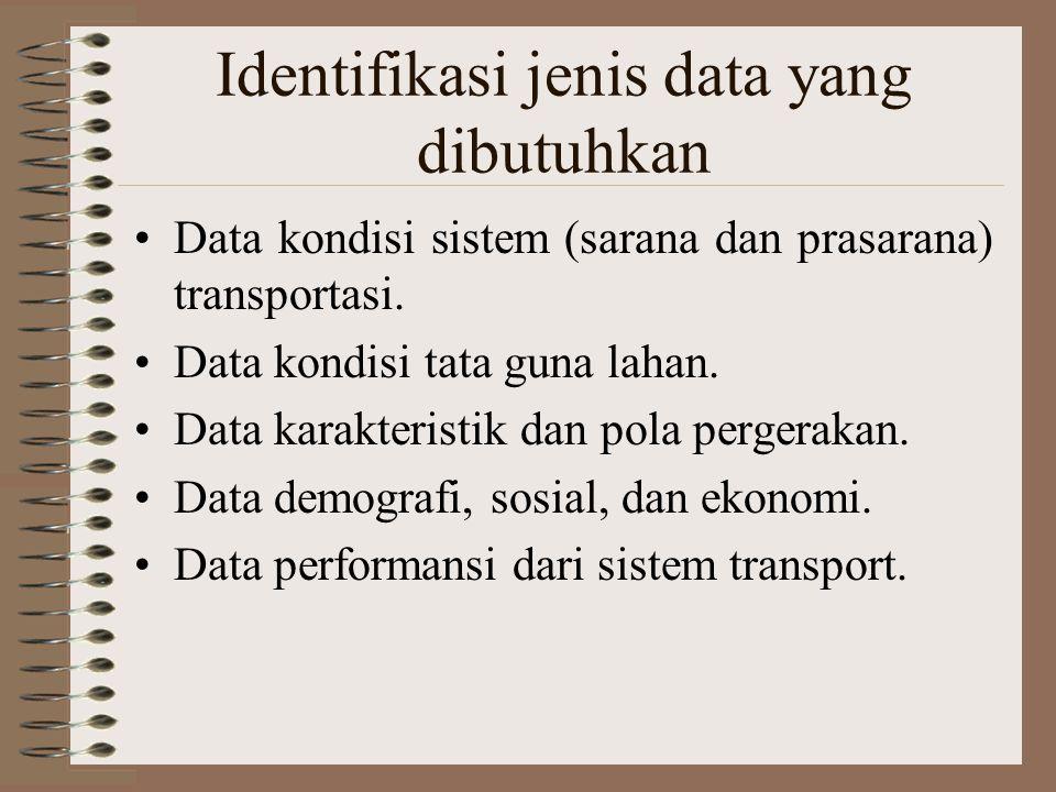 Identifikasi jenis data yang dibutuhkan Data kondisi sistem (sarana dan prasarana) transportasi. Data kondisi tata guna lahan. Data karakteristik dan