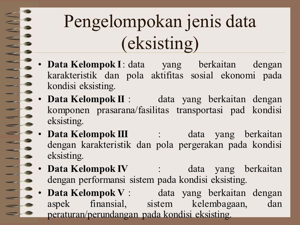Pengelompokan jenis data (eksisting) Data Kelompok I:data yang berkaitan dengan karakteristik dan pola aktifitas sosial ekonomi pada kondisi eksisting