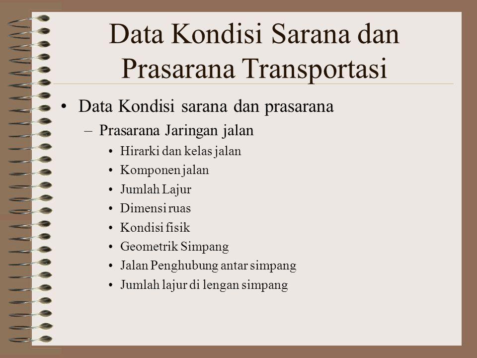Data Kondisi Sarana dan Prasarana Transportasi Data Kondisi sarana dan prasarana –Prasarana Jaringan jalan Hirarki dan kelas jalan Komponen jalan Juml