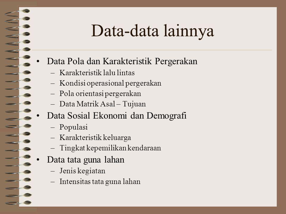 Data-data lainnya Data Pola dan Karakteristik Pergerakan –Karakteristik lalu lintas –Kondisi operasional pergerakan –Pola orientasi pergerakan –Data M