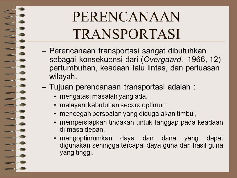 PERENCANAAN TRANSPORTASI –Perencanaan transportasi sangat dibutuhkan sebagai konsekuensi dari (Overgaard, 1966, 12) pertumbuhan, keadaan lalu lintas,