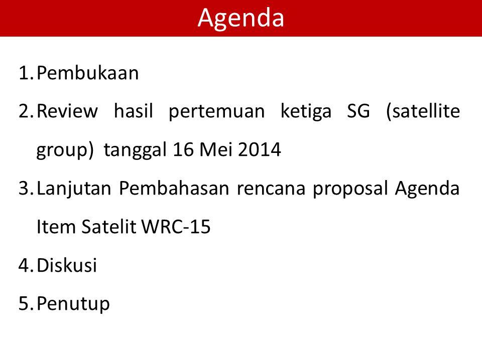 Agenda 1.Pembukaan 2.Review hasil pertemuan ketiga SG (satellite group) tanggal 16 Mei 2014 3.Lanjutan Pembahasan rencana proposal Agenda Item Satelit WRC-15 4.Diskusi 5.Penutup