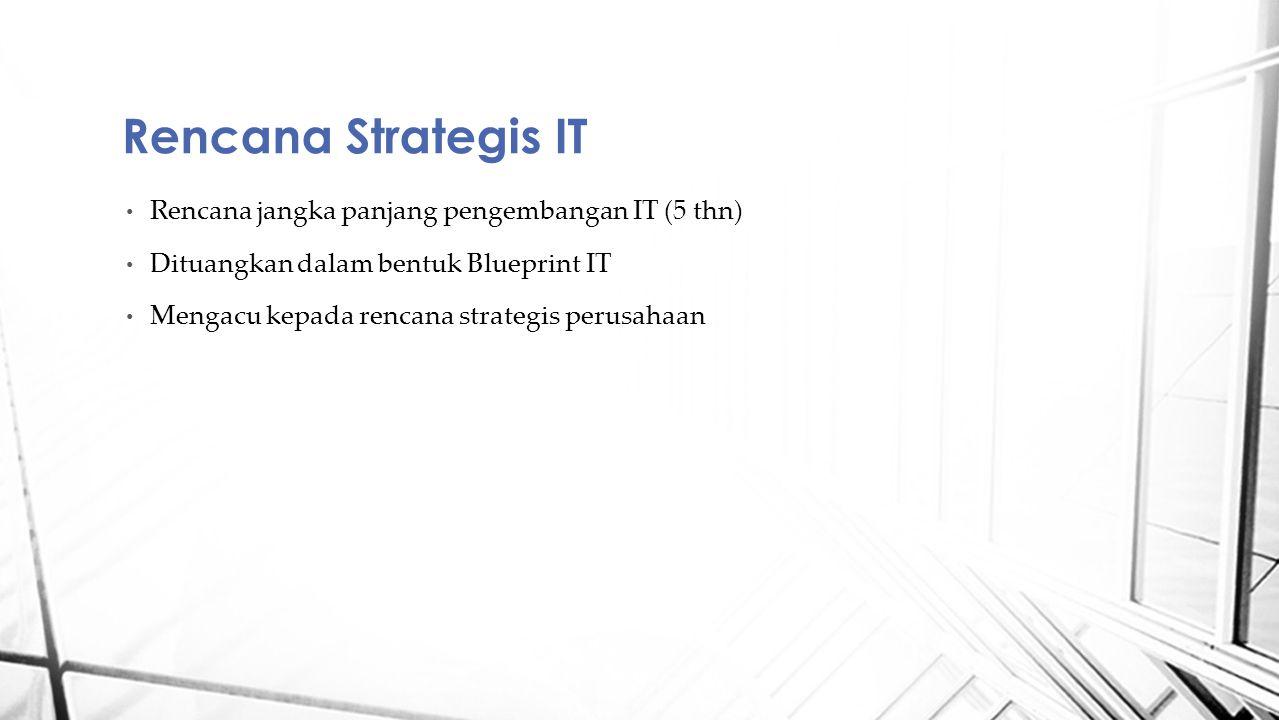 Rencana jangka panjang pengembangan IT (5 thn) Dituangkan dalam bentuk Blueprint IT Mengacu kepada rencana strategis perusahaan Rencana Strategis IT