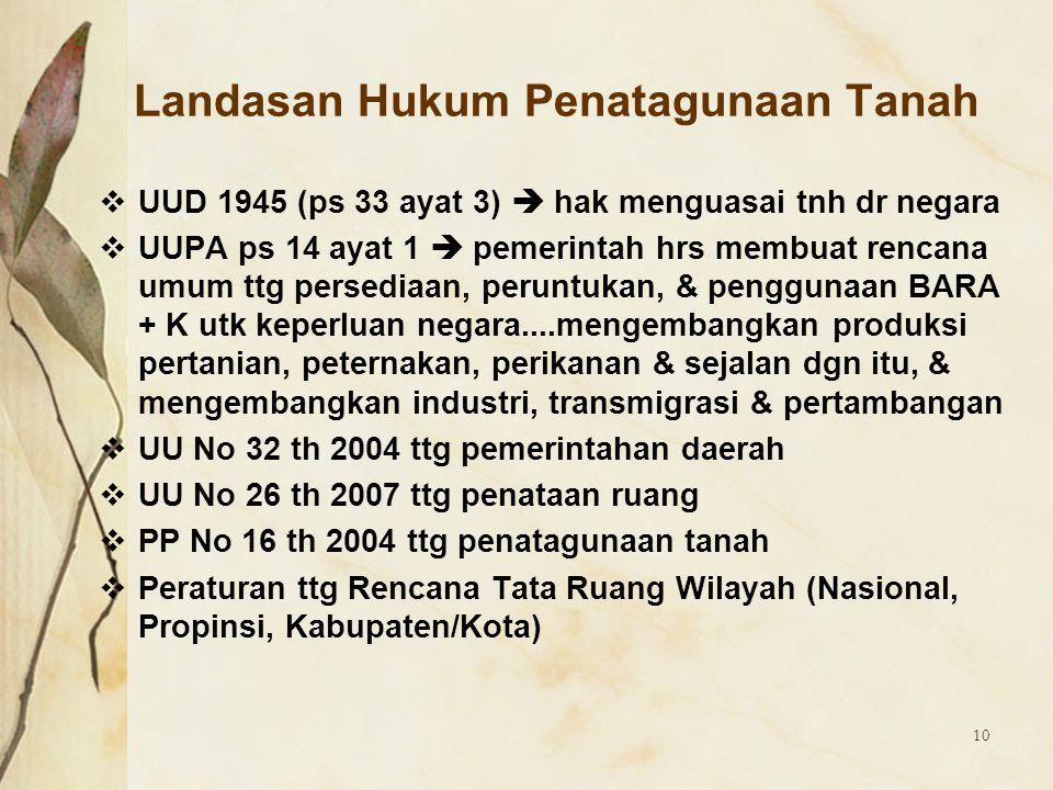 10 Landasan Hukum Penatagunaan Tanah  UUD 1945 (ps 33 ayat 3)  hak menguasai tnh dr negara  UUPA ps 14 ayat 1  pemerintah hrs membuat rencana umum