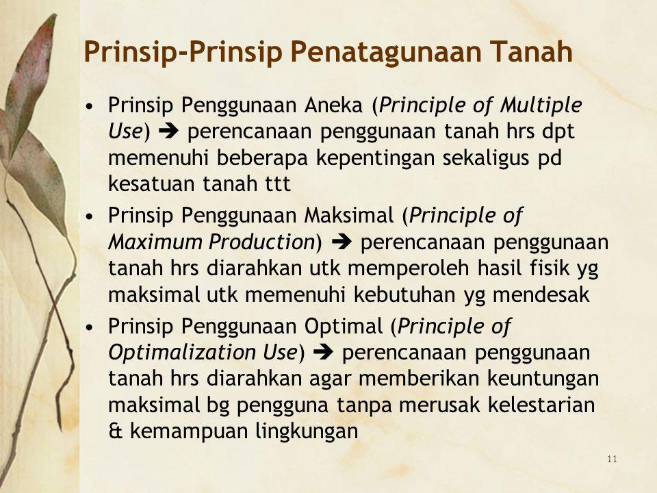 11 Prinsip-Prinsip Penatagunaan Tanah Prinsip Penggunaan Aneka (Principle of Multiple Use)  perencanaan penggunaan tanah hrs dpt memenuhi beberapa ke