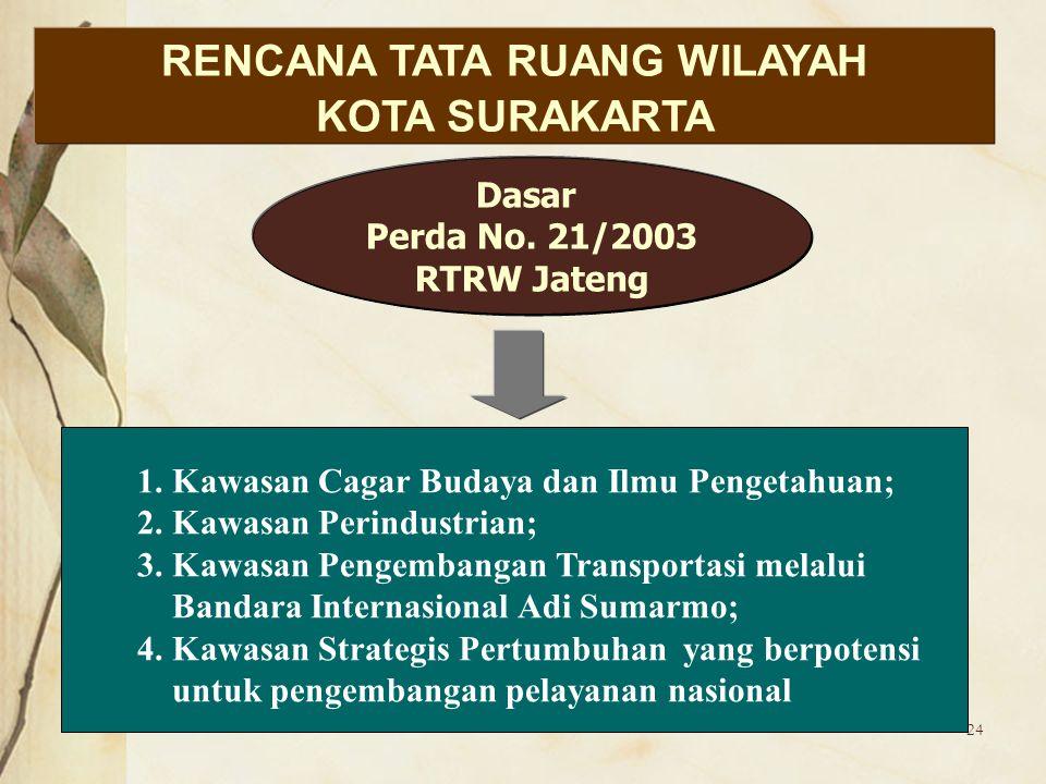 24 RENCANA TATA RUANG WILAYAH KOTA SURAKARTA Dasar Perda No. 21/2003 RTRW Jateng 1. Kawasan Cagar Budaya dan Ilmu Pengetahuan; 2. Kawasan Perindustria