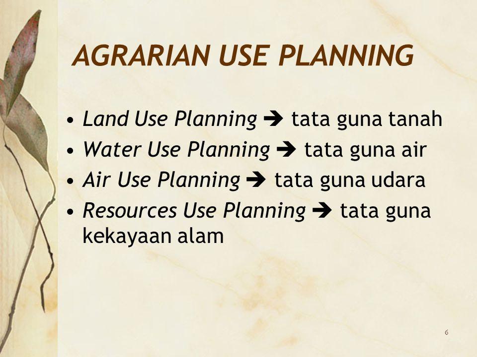 6 AGRARIAN USE PLANNING Land Use Planning  tata guna tanah Water Use Planning  tata guna air Air Use Planning  tata guna udara Resources Use Planni
